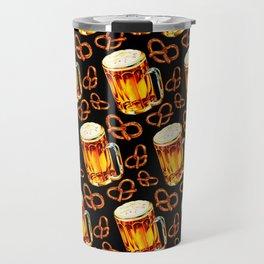 Beer & Pretzel Pattern - Black Travel Mug