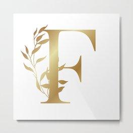 Monogram Gold Letter F Metal Print