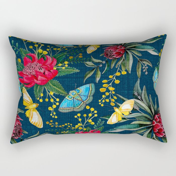 Protea and Watarah with golden wattle, Australian flowers and butterfly moths painted in watercolor Rectangular Pillow