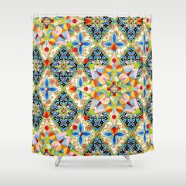 Elizabethan Blossom Starburst Shower Curtain