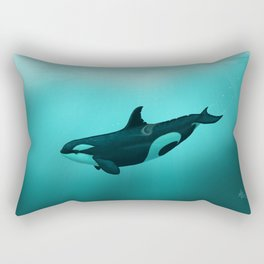 """Lost in Paradise"" by Amber Marine ~ Killer Whale ~ Orca ~ Original Version ~ (Copyright 2015) Rectangular Pillow"