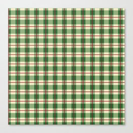 Plaid Pattern in Green and Beige Canvas Print