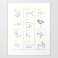 mid century Art Prints featuring Mid Century Chairs by MidPark Prints