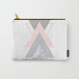 Blush Marble Gray Gold Geometric Pattern Carry-All Pouch