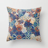 Throw Pillows featuring Havana in Blue by Berengere Ducoms