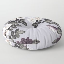 Birds and the Bees Blue Gray Floor Pillow