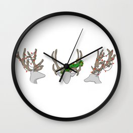 Christmas Reindeer Wreath Wall Clock