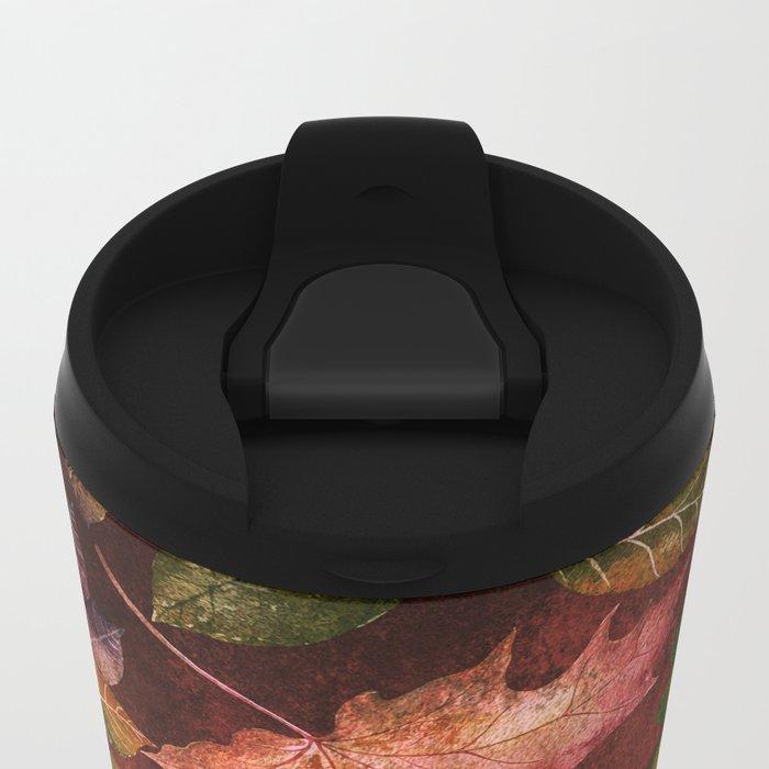 My favorite color is october- Colorful autumnal leaves pattern Metal Travel Mug