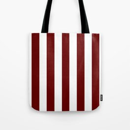 Blood red - solid color - white vertical lines pattern Tote Bag