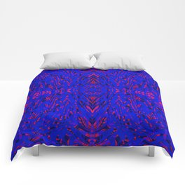 blue on red symmetry Comforters