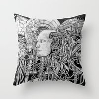 robot Throw Pillows featuring Robot by Walid Aziz