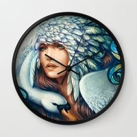 swan queen Wall Clocks featuring Swan by Bea González