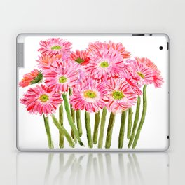 Pink Gerbera Daisy watercolor Laptop & iPad Skin