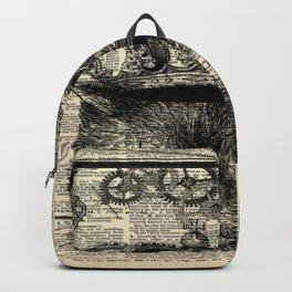 dictionary print steampunk gear halloween spooky black cat Backpack