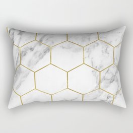 Gold marble hexagon pattern Rectangular Pillow