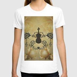 Wonderful violoin with elegant floral elements T-shirt
