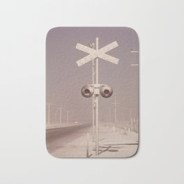 White dust on railroad crossing Bath Mat