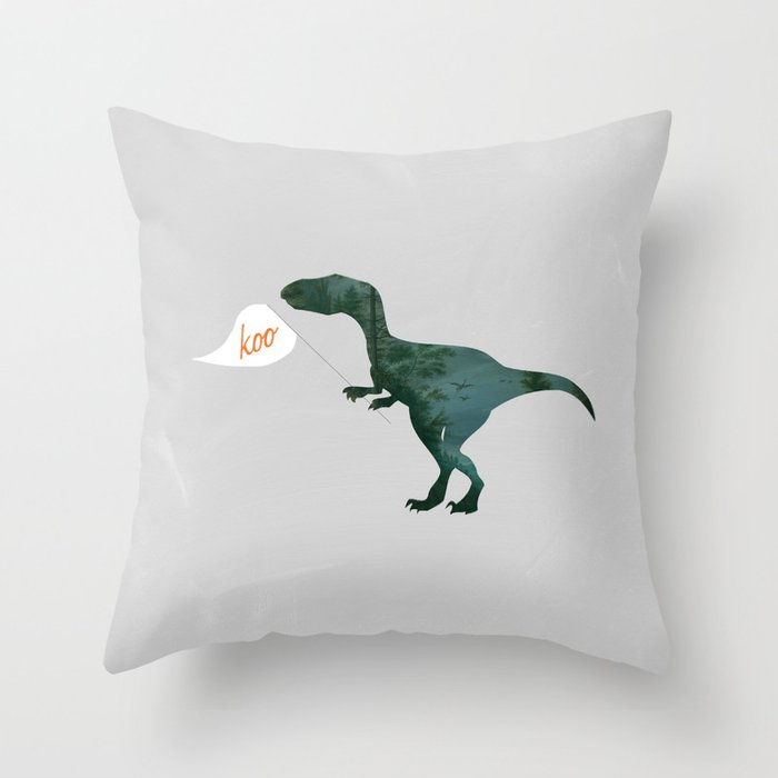 Velociraptor with Flag Making its Iconic Sound Throw Pillow