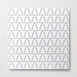 Modern Minimal Christmas Trees Pattern Geometric Metal Print
