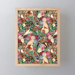 Floral and Animals pattern Framed Mini Art Print