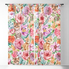 Kittens in flowers Blackout Curtain