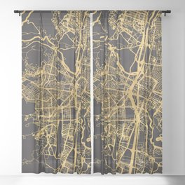 MEDELLIN COLOMBIA GOLD ON BLACK CITY MAP Sheer Curtain