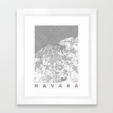 Havana Map Line Framed Art Print