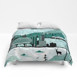 Vancouver Travel Poster Illustration Comforters