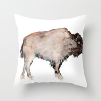 buffalo Throw Pillows featuring Buffalo by Elena Sandovici