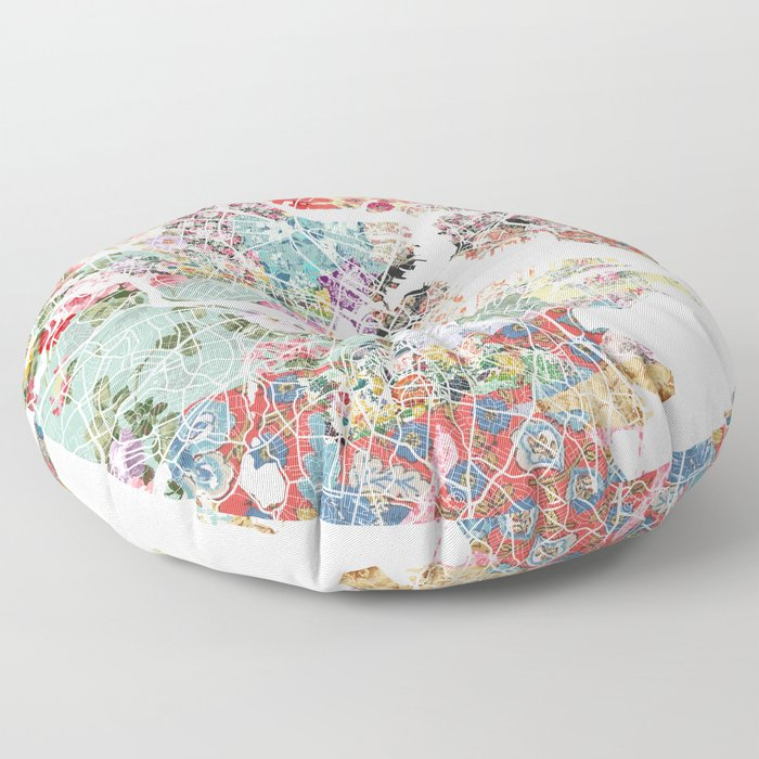 Boston map portrait Floor Pillow