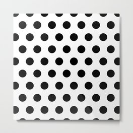 White And Black Polka Dots Metal Print