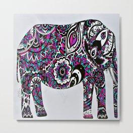 Colourful Mandala Elephant Metal Print