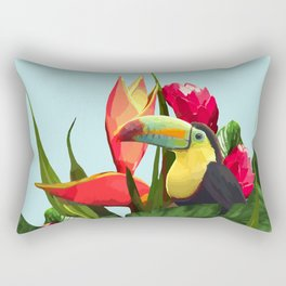 Toucan Tropical Banana Leaves Bouquet Rectangular Pillow
