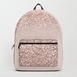 Modern sparkles rose gold ombre sequins glitter fancy girly blush pink Backpack
