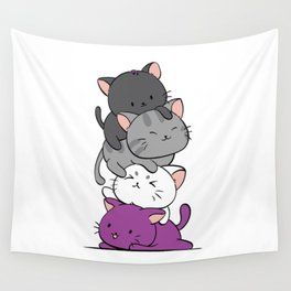 Asexual Pride Cats Anime - Ace Pride Cute Kitten Stack Wall Tapestry
