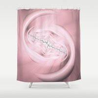 stitch Shower Curtains featuring Rosey Stitch by Awesome Palette