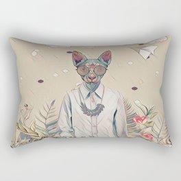 Floral cat Rectangular Pillow