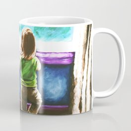 Waiting For Daddy Child Dog Boston Terrier Window Street Trees Toddler Girl Friends Blue Teal Coffee Mug