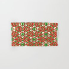 Red, Green and White Kaleidoscope 3376 Hand & Bath Towel
