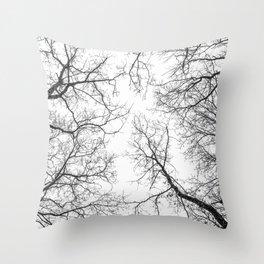 Black branches, white sky Throw Pillow