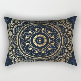 Mandala Watercolor Sketchy, Mandala Yoga, Blue, Gold Rectangular Pillow