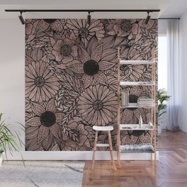 Floral Rose Gold Flowers and Leaves Drawing Black Wall Mural