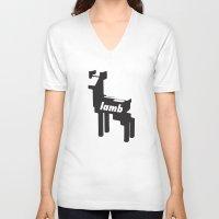 lamb V-neck T-shirts featuring LAMB by MDRMDRMDR