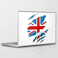 british flag Laptop & iPad Skins featuring British Flag Pride by northside