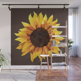 Polygonal Sunflower Wall Mural