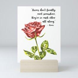 Watercolor Rose and Love Quote Mini Art Print