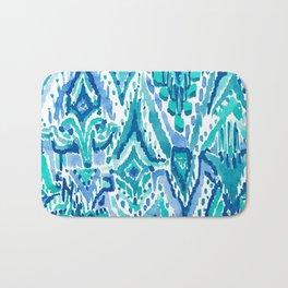AQUA FRINGE TRIBAL Ikat Watercolor Bath Mat