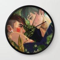 haikyuu Wall Clocks featuring Mononoke hime by Aleksandra Chabros aka Adelaida