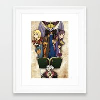 ace attorney Framed Art Prints featuring Professor Layton vs. Ace Attorney by Kyra Draws