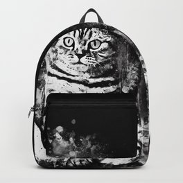 cat sitting like human ws bw Backpack